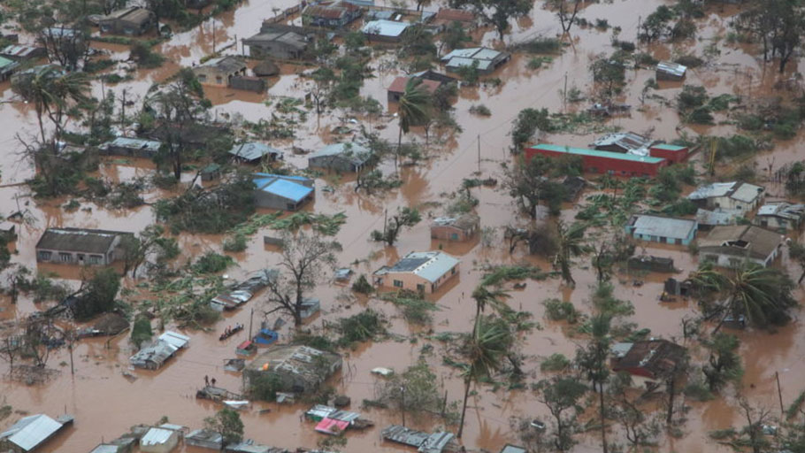 An aerial view of Mozambique's Sofala province shows standing water. Sofala and Manica provinces were the hardest hit by Cyclone Idai.,