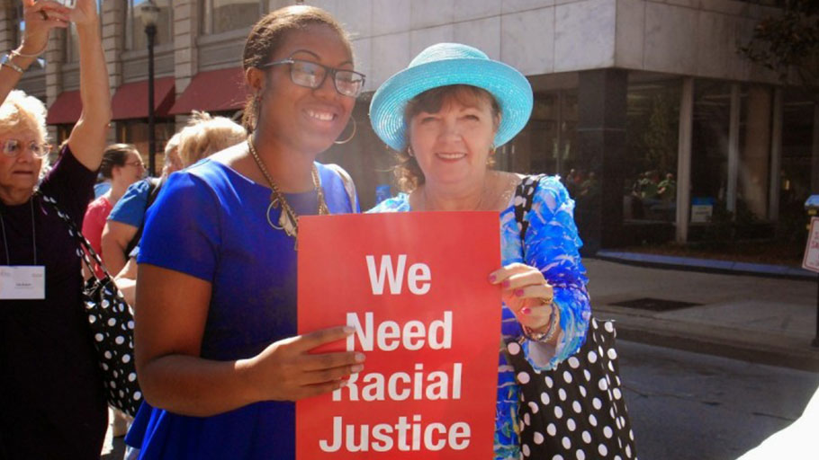 Protest for Economic and Racial Justice in Lousiville, Kentucky as part of the 2014 United Methodist Women's General Assembly. Image by Brittney Drakeford.