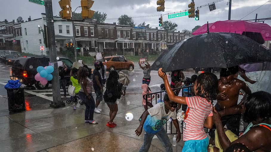 A block party on the weekend of a cease-fire, organized by Baltimore Ceasefire, in August.