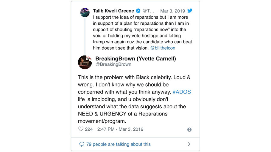 3/3/19 Tweet by Talib Kweli Greene
