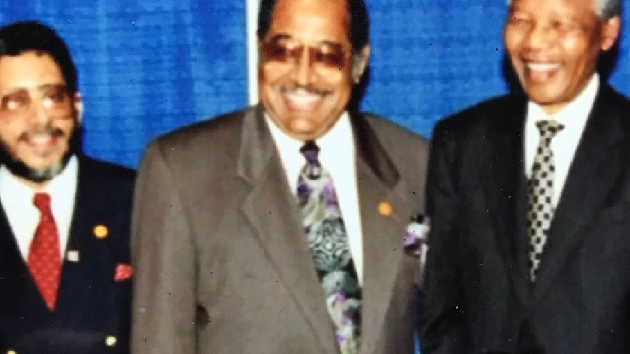 The great Nelson Mandela addressed the Annual Conference of the NAACP in July, 1993 in Indianapolis. Don Rojas (left) was the NAACP's Director of Communications at the time.