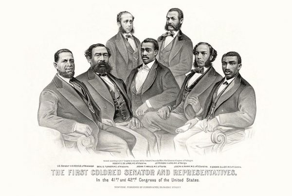 A group portrait of the first African-American legislators in the 41st and 42nd Congress. Library of Congress