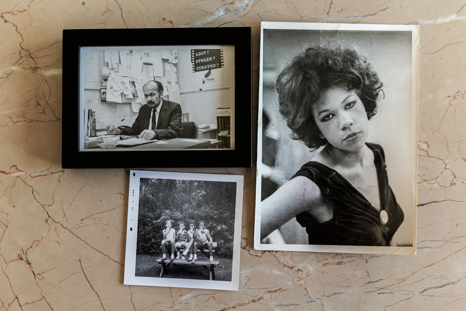 Clockwise from top right: Gilmore in 1986; with her brother Jon (second from left) and two friends; Gilmore's father in the late 1960s, in the office where he worked to desegregate the Yale School of Medicine.