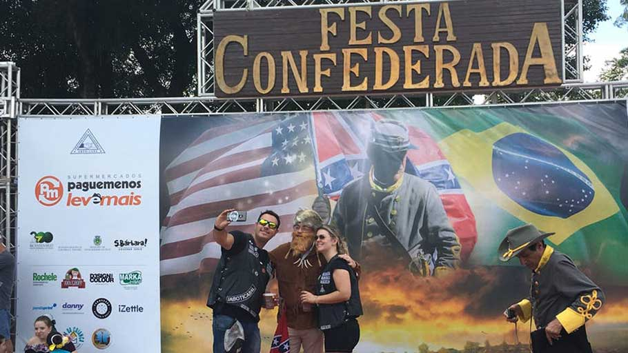 Visitors and performers at Brazil's 'Confederate Party,' held each April in São Paulo state.