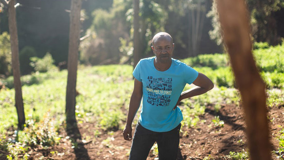 Garlic farmer Solomon Wambogo Munyua in his field in Embaringo, Kenya