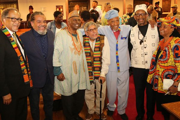 From left, Benjamin Chavis, president and CEO of the National Newspaper Publishers Association; radio personality Mark Thompson, academician Leonard Jeffries; ,Don Rojas; the Rev. Herb Daughtry, pastor emeritus of the House of the Lord Church, Brooklyn, N.Y., host of the event; Ron Daniels, president of the Institute of the Black World 21st Century, and the Rev. Karen Daughtry of the House of the Lord Church.