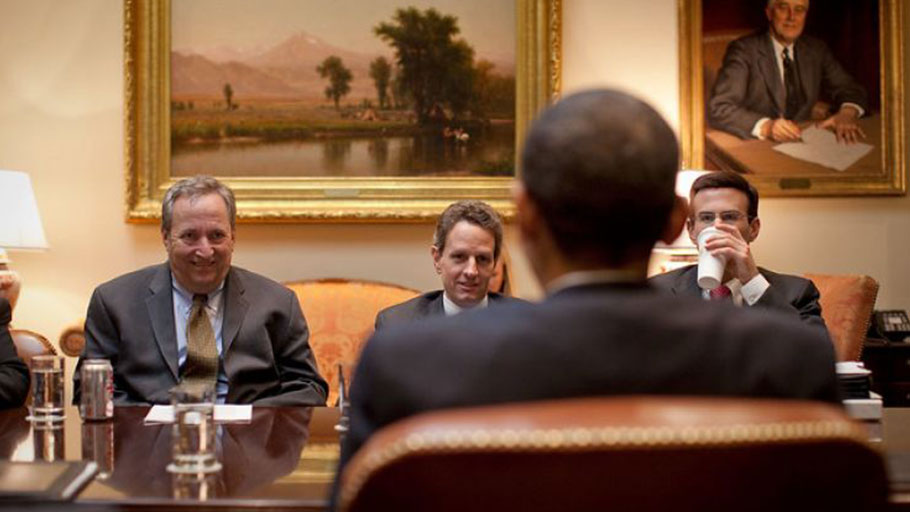 National Economic Council Director Larry Summers, Treasury Secretary Timothy Geithner, and Office of Management and Budget Director Peter Orszag look at President Barack Obama during an economic meeting in the Roosevelt Room of the White House, March 24, 2009.
