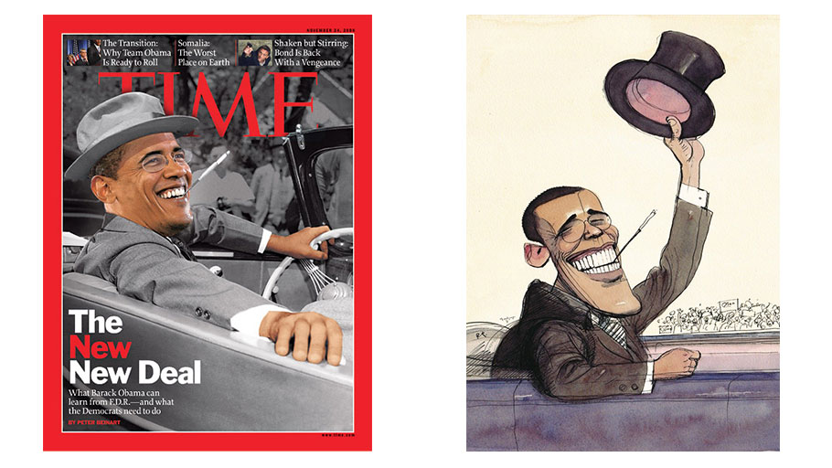 Two representations of Obama as Roosevelt in 2008, in Time and The New Yorker