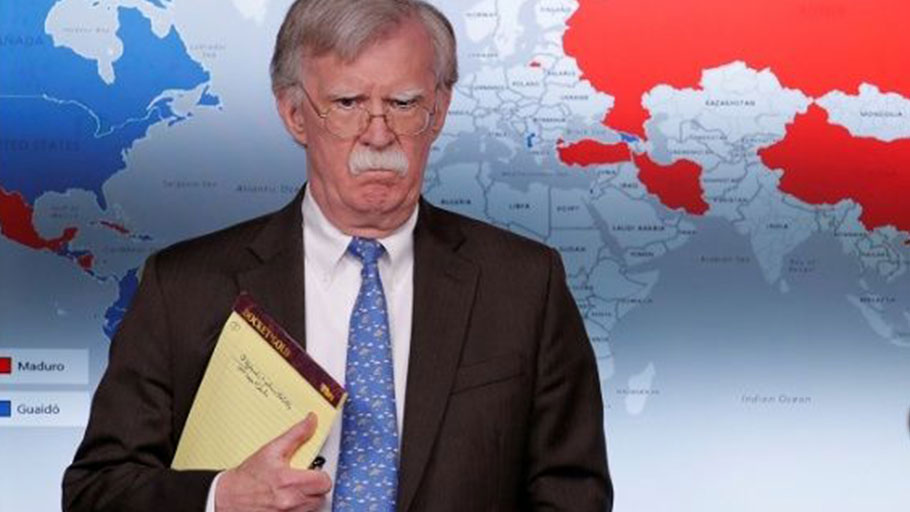 U.S. National Security Adviser John Bolton arrives to address reporters as the Trump administration announces economic sanctions against Venezuela