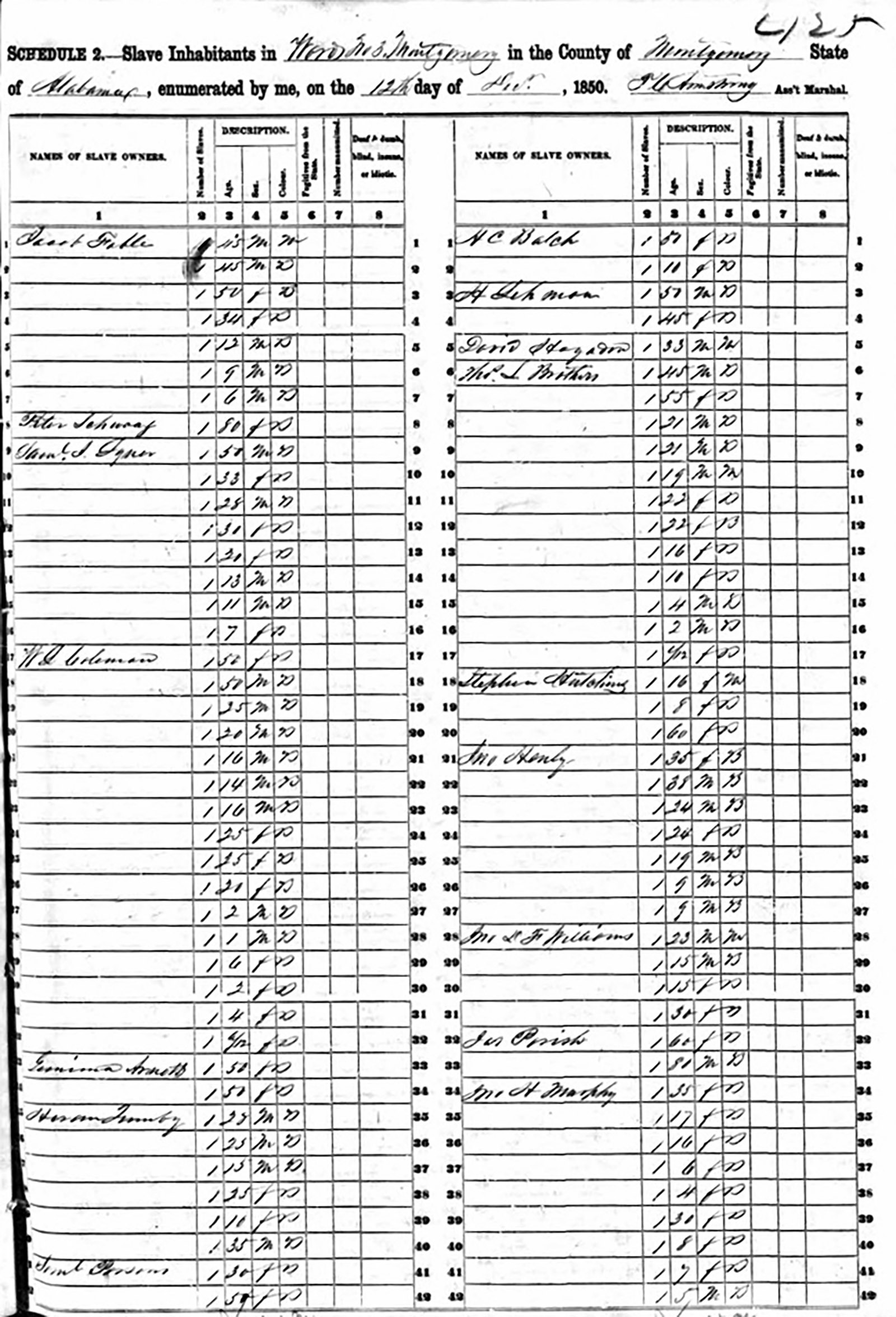 Page from the 1850 Montgomery County slave schedule identifying Henry (Hayum) Lehman as the owner of two slaves