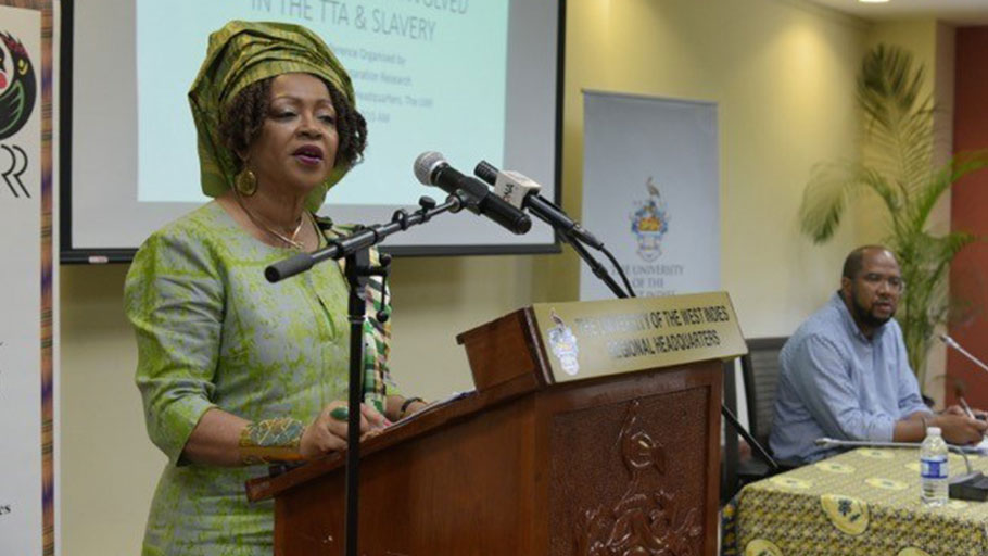 Prof Verene Shepherd, Vice Chair CARICOM Reparations Commission, speaking at the press conference.