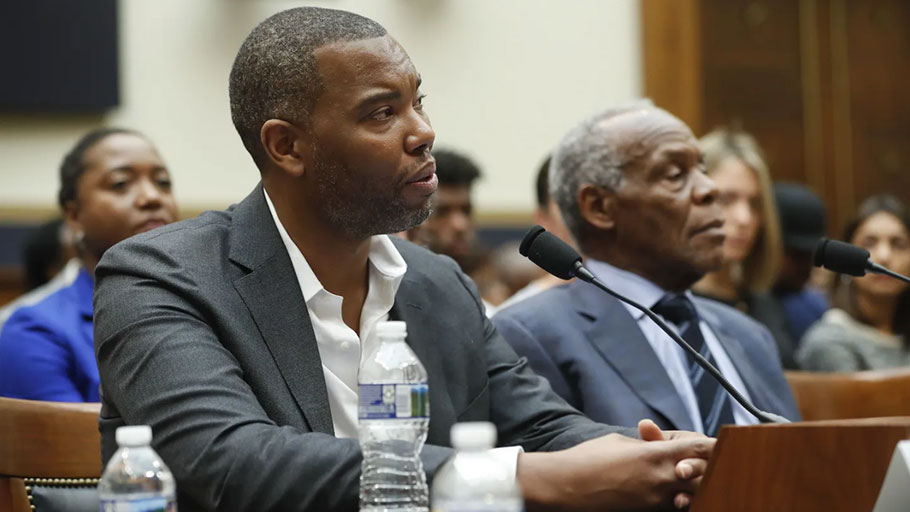 Ta-Nehisi Coates and Danny Glover testify about reparation for the descendants of slaves during a hearing before the House Judiciary Subcommittee on the Constitution, Civil Rights, and Civil Liberties, June 2019.
