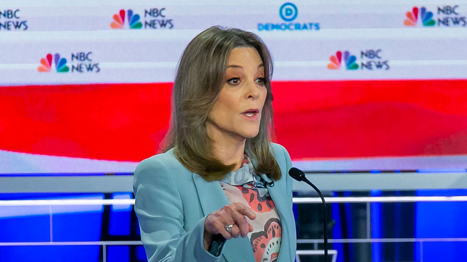 Democratic presidential candidate Marianne Williamson speaks during the second night of the first Democratic presidential debate on Thursday.