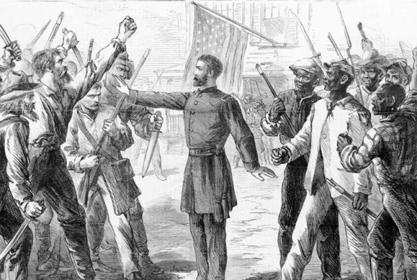 A man representing the Freedman's Bureau stands between armed groups of Euro-Americans and Afro-Americans in this illustration from 1868.Alfred R. Waud, Harper's Weekly
