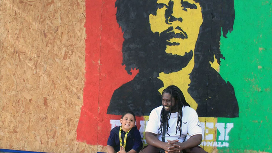 A mural of Bob Marley at Notting Hill Carnival in 2012.