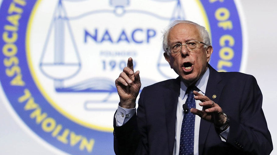 NAACP crowd applauds Bernie Sanders explaining his opposition to slave reparations