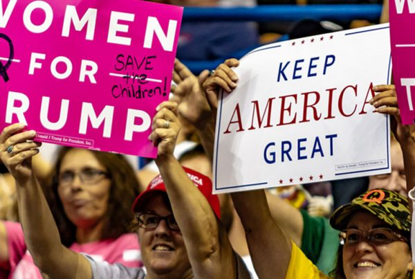 """A group of Trump supporters display their """"Women For Trump"""" and """"Keep America Great"""" signs during the """"Make America Great Again"""" rally held at the Mohegan Sun Arena."""