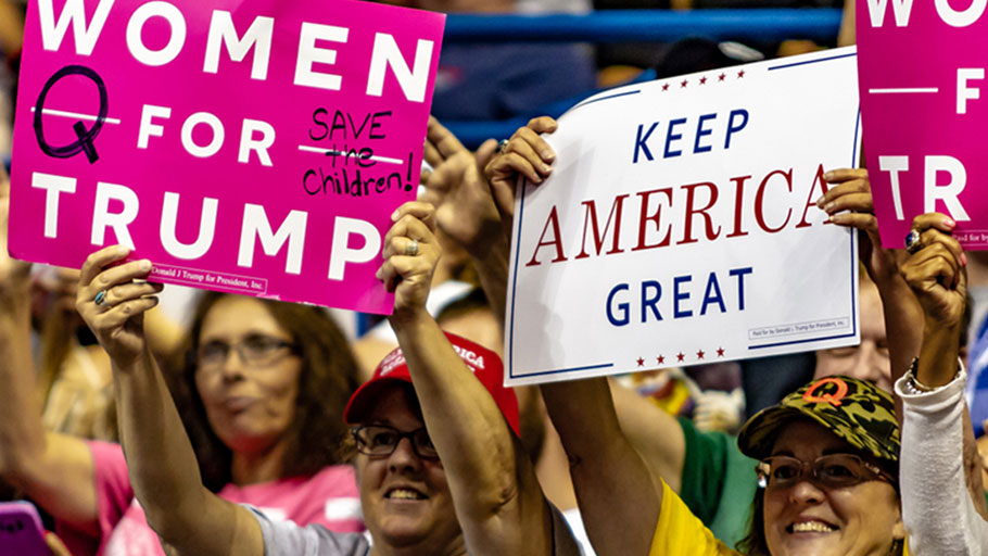 "A group of Trump supporters display their ""Women For Trump"" and ""Keep America Great"" signs during the ""Make America Great Again"" rally held at the Mohegan Sun Arena."