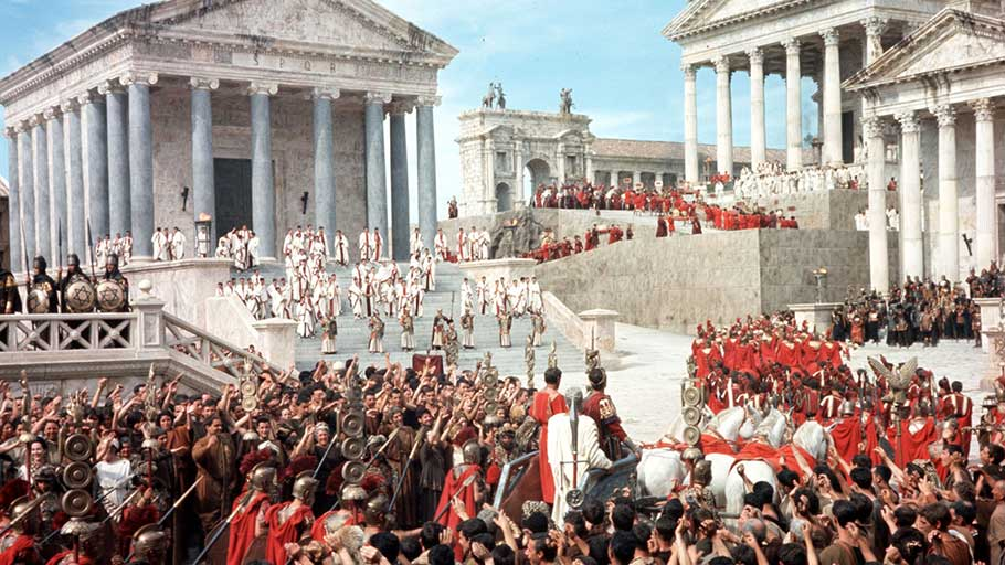 The newly crowned Emperor Commodus, played by Christopher Plummer, entering the Forum in a scene from the 1964 film The Fall of the Roman Empire