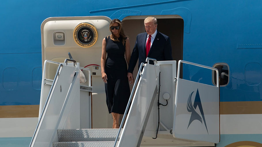 Donald and Melania Trump arrive in El Paso.