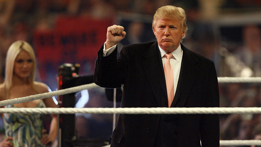 "Donald Trump before his ""Hair vs. Hair"" bout with wrestling promoter Vince McMahon in WrestleMania 23, Detroit, Michigan, April 1, 2007"