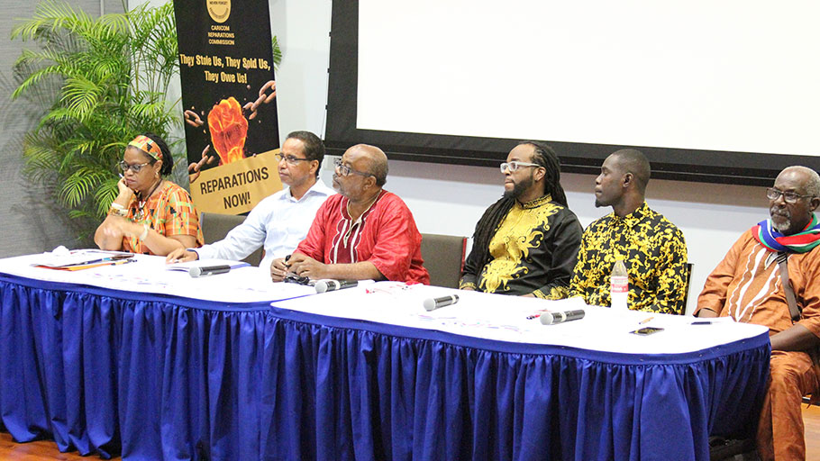 Moderator of the panel Dr. Hilary Brown and panelists at the discussion on reparatory justice.