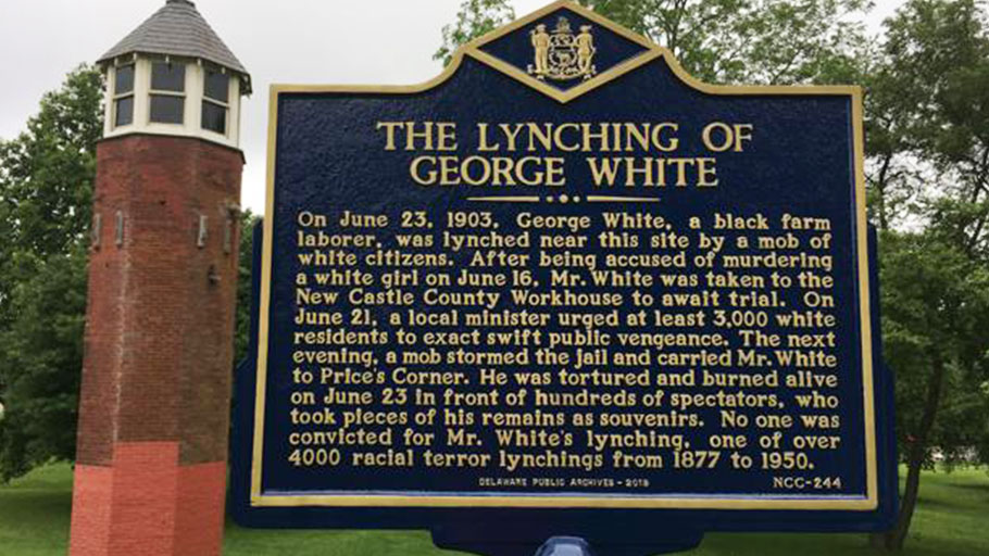Historical marker remembering 1903 lynching of George White