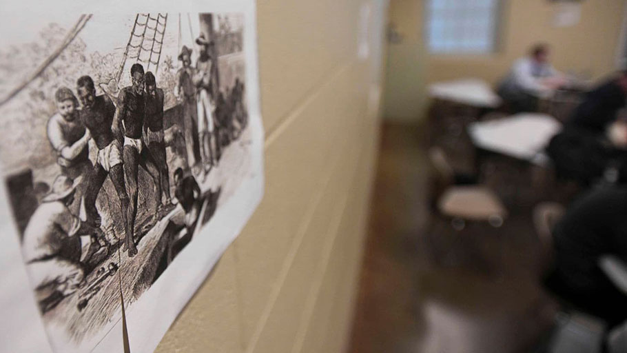 A drawing of a slave ship hangs in Tiffany Classie Williams's history class at Huffman High School in Birmingham, Ala., in April.