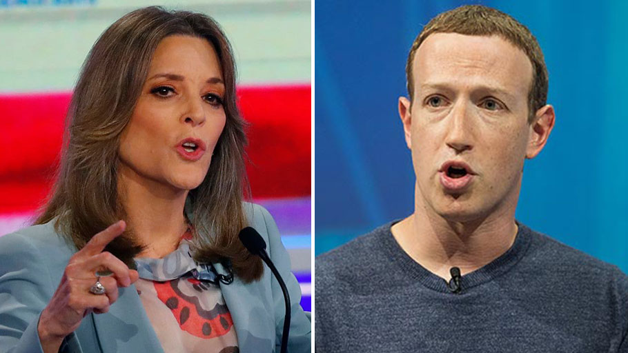 Marianne Williamson and Mark Zuckerberg