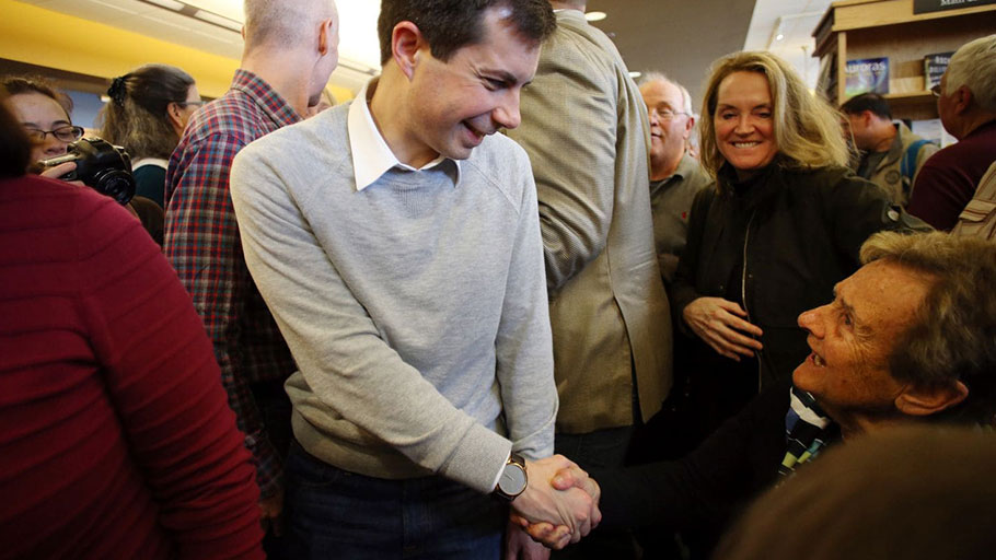 Pete Buttigieg, mayor of South Bend, Ind., and a Democratic presidential candidate, greets people at Gibson's Bookstore in Concord, N.H., on April 6