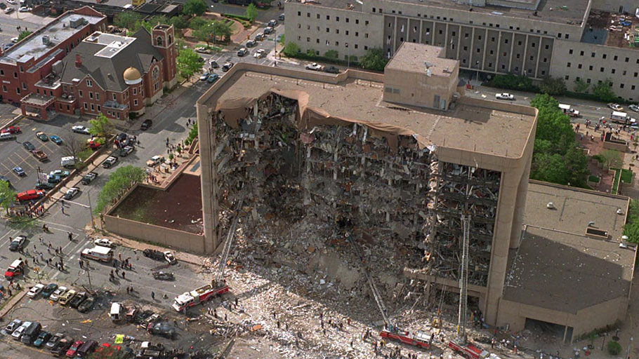 The Alfred P. Murrah Federal Building in Oklahoma City after a truck bomb explosion, April, 1995