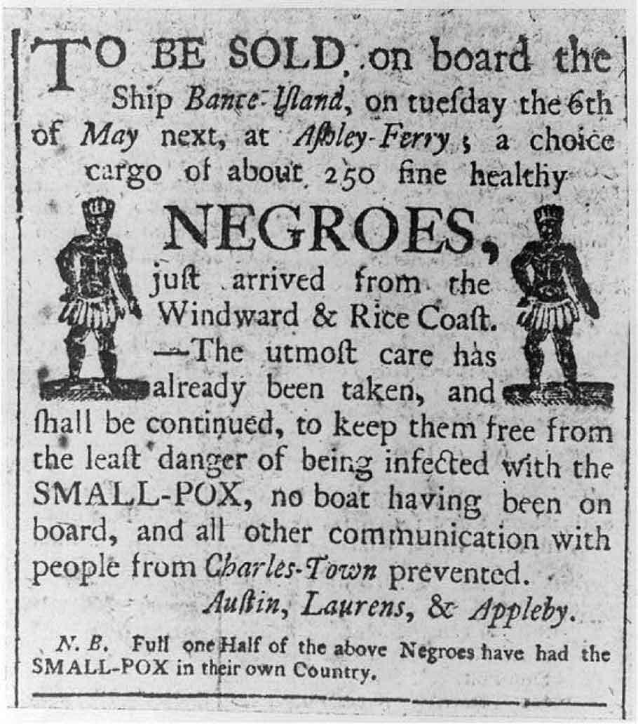 An early newspaper advertisement announcing the sale of slaves at Ashley Ferry outside Charleston, S.C.