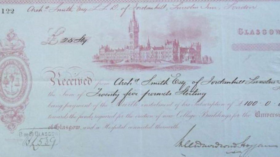 Donations from people with links to the slave trade included £100 from Archibald Smith II to Glasgow University in 1870