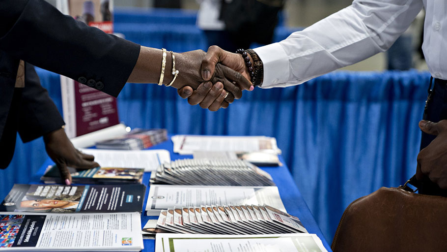 A job fair in Washington DC in August. In April 2019, when the overall unemployment rate was 3.6%, the white unemployment rate was 3.1% while the black unemployment rate was 6.7%.