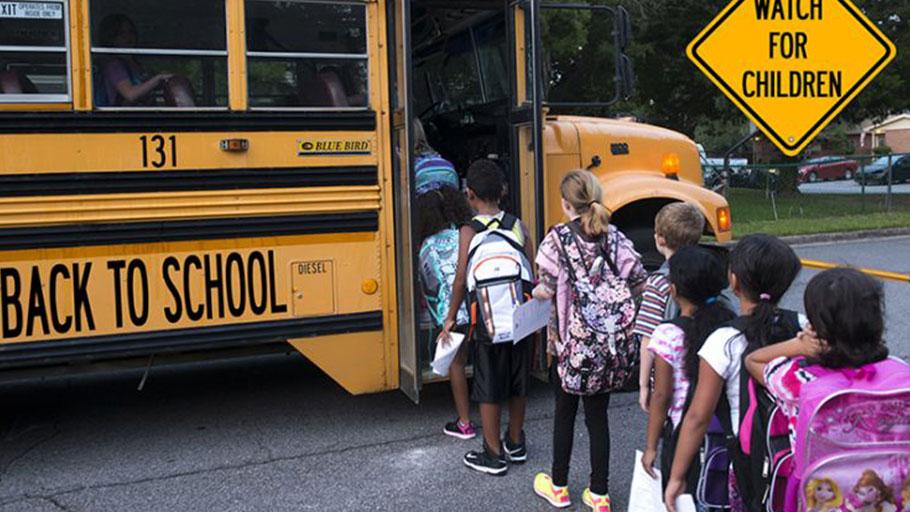 School children, school bus