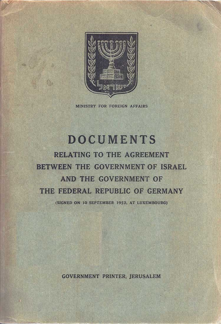A booklet containing the full text of the reparations agreement, 1952