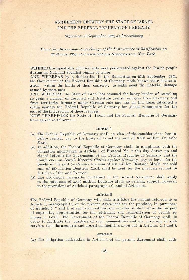 The first page of the printed agreement