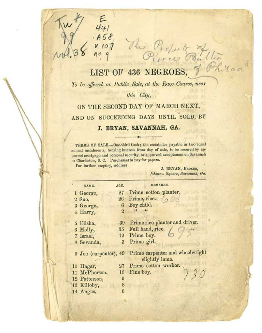 Auction catalogue for the sale of enslaved people sold on March 2 and 3 in 1859