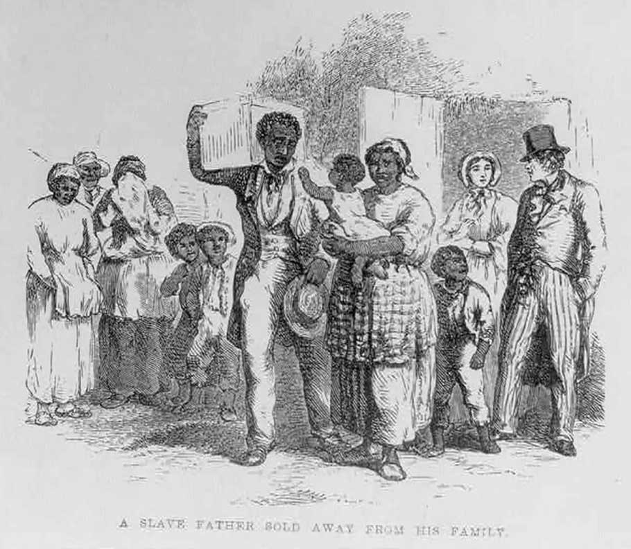 A sketch depicts an enslaved father being sold away from his family.
