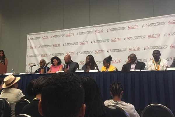 "Panelists from ""The Decade of the Diaspora: A Conversation on the Afro Descendant Experience in Latin America"" session during the Congressional Black Caucus Foundation annual legislative conference."
