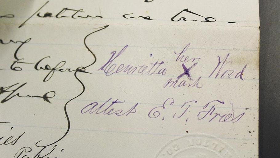 Wood's mark on an affidavit from Wood v. Ward. (W. Caleb McDaniel)