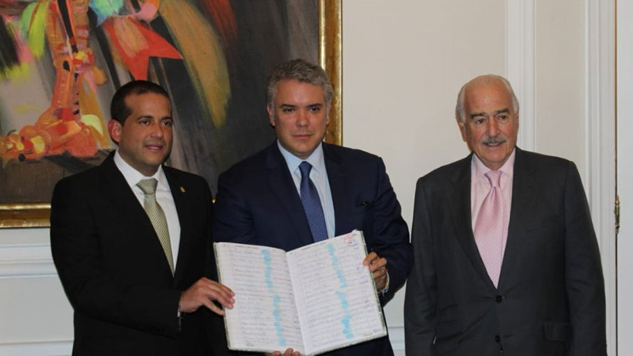 Camacho with Colombian President Ivan Duque in May