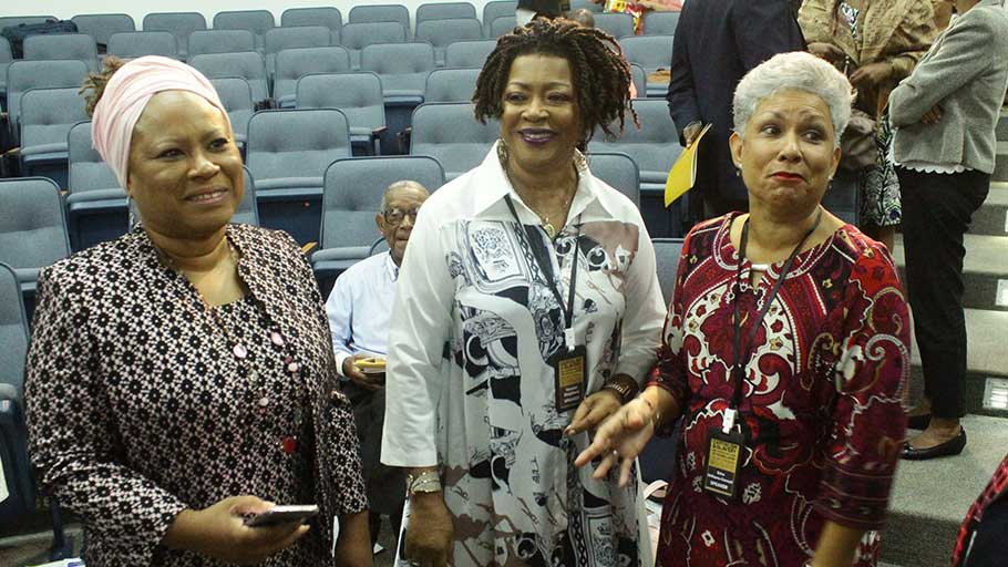 Presiding Officer Tobago House of Assembly Legislature, Denise Tsoiafatt-Angus , Dir. of the Centre for Reparations Research, Prof. Verene Shepherd, and daughter of Eric Williams, Erica Williams.