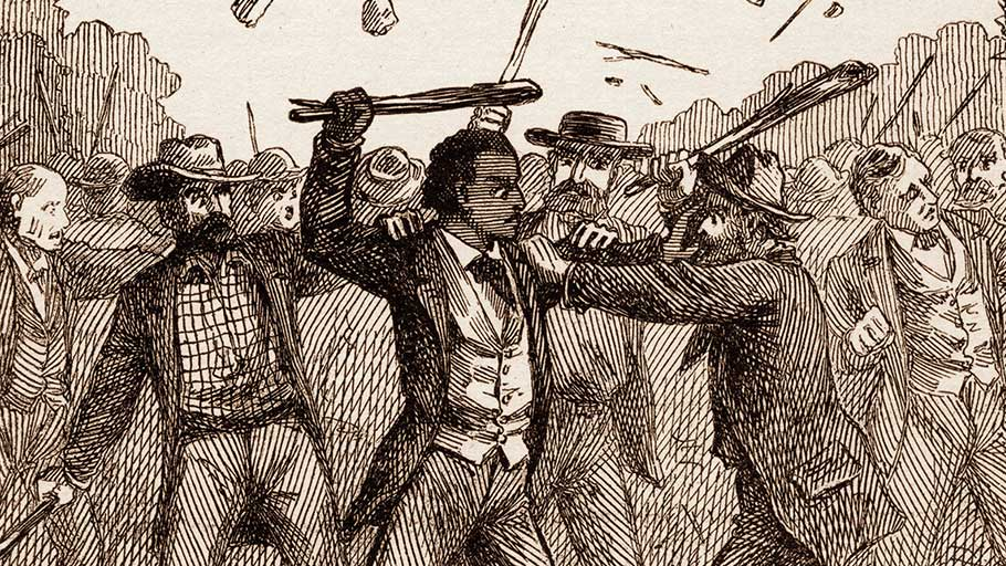 Engraving of abolitionist and author Frederick Douglass being attacked by thugs at an American Anti-Slavery Society meeting, Pendleton, Indiana, 1843.
