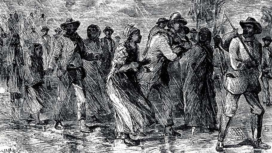 Engraving of fugitive slaves traveling from Maryland to Delaware by way of the Underground Railroad, 1850–1851.
