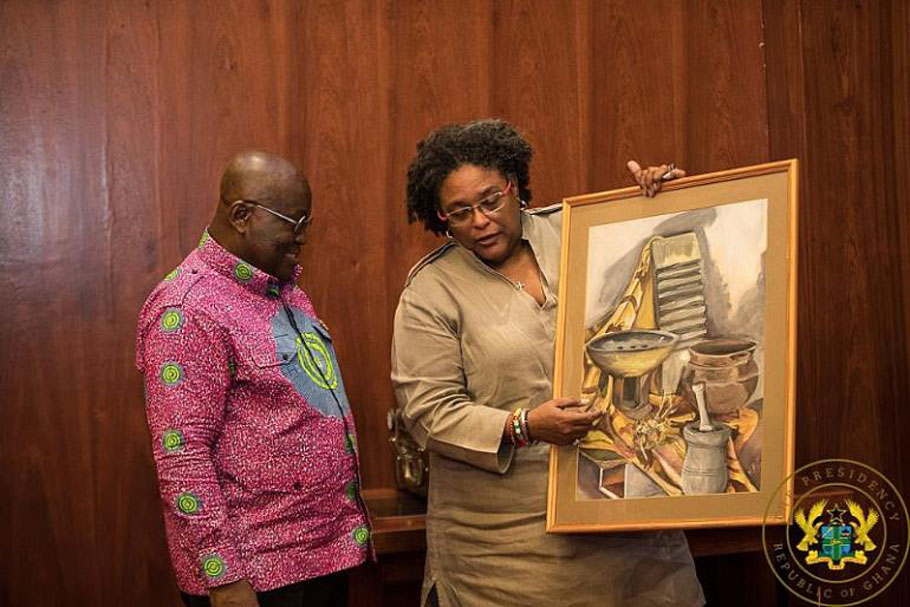 President of Ghana, Nana Addo Dankwa Akufo-Addo and Prime Minister Mia Mottley of Barbados