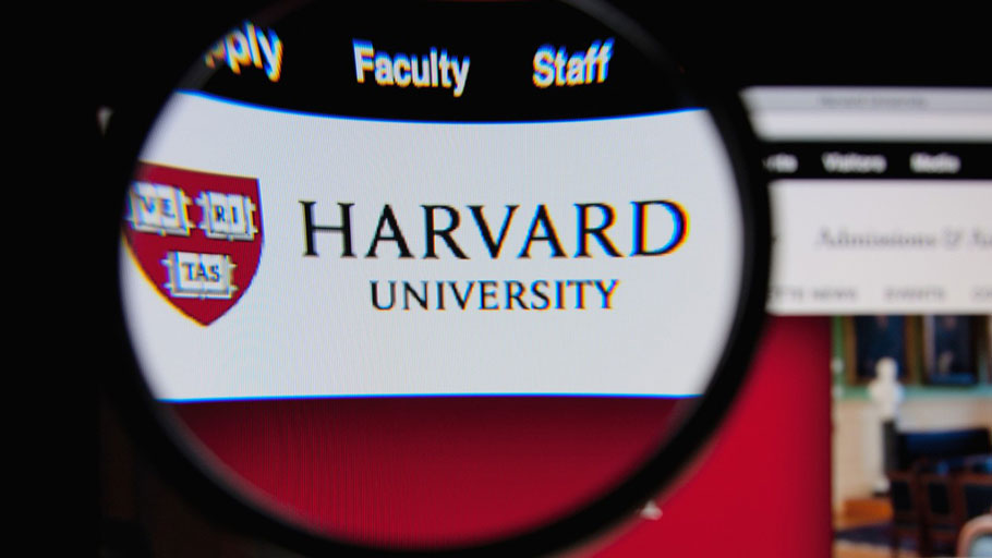Harvard University Website Close up