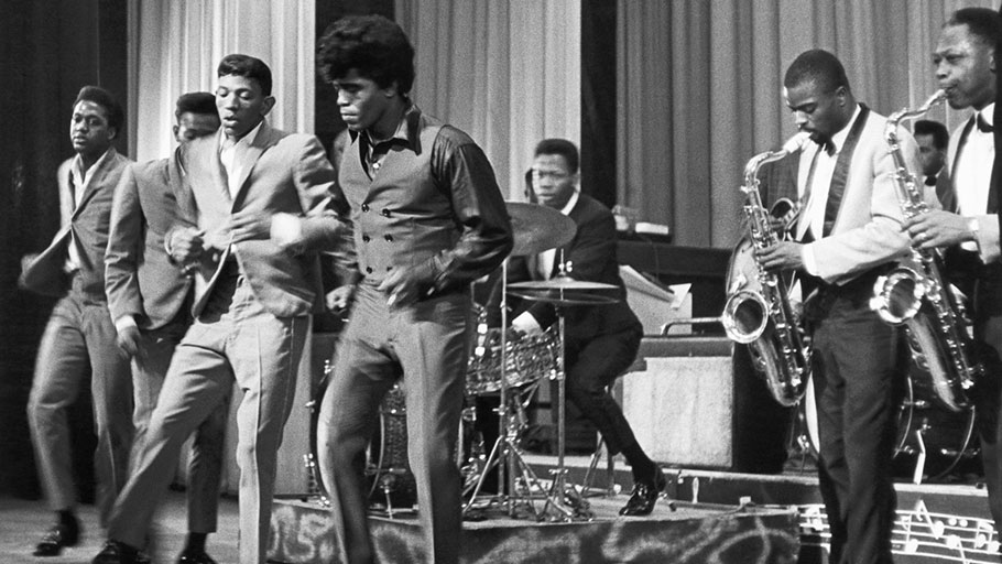 James Brown performs with the Famous Flames at the Apollo Theater