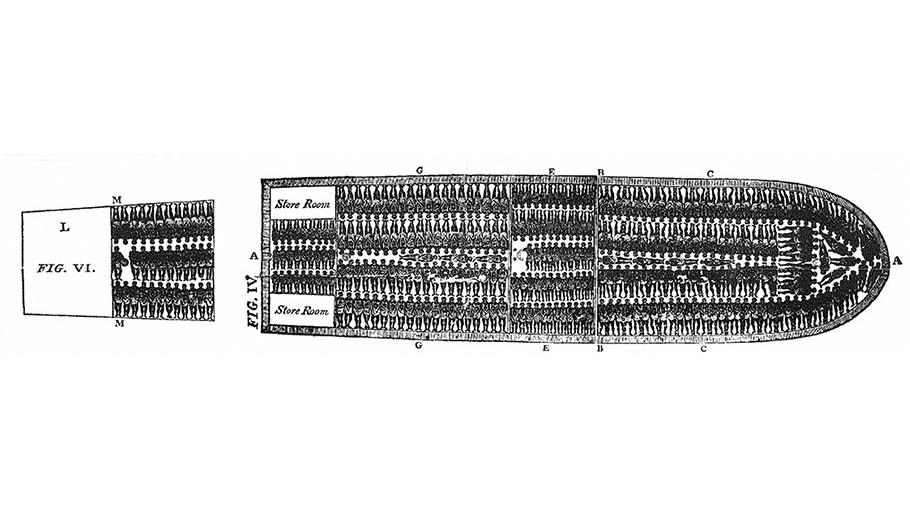 This diagram was produced in 1788 to illustrate how captives destined for the Americas were crammed into the hold of the slave ship Brookes. It shows 454 people, the maximum allowed by British law at the time.