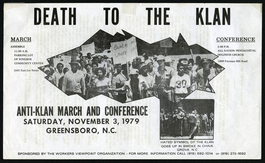 A WVO flyer announces the November 3, 1979 'Death to the Klan' march and conference to be held in Greensboro.